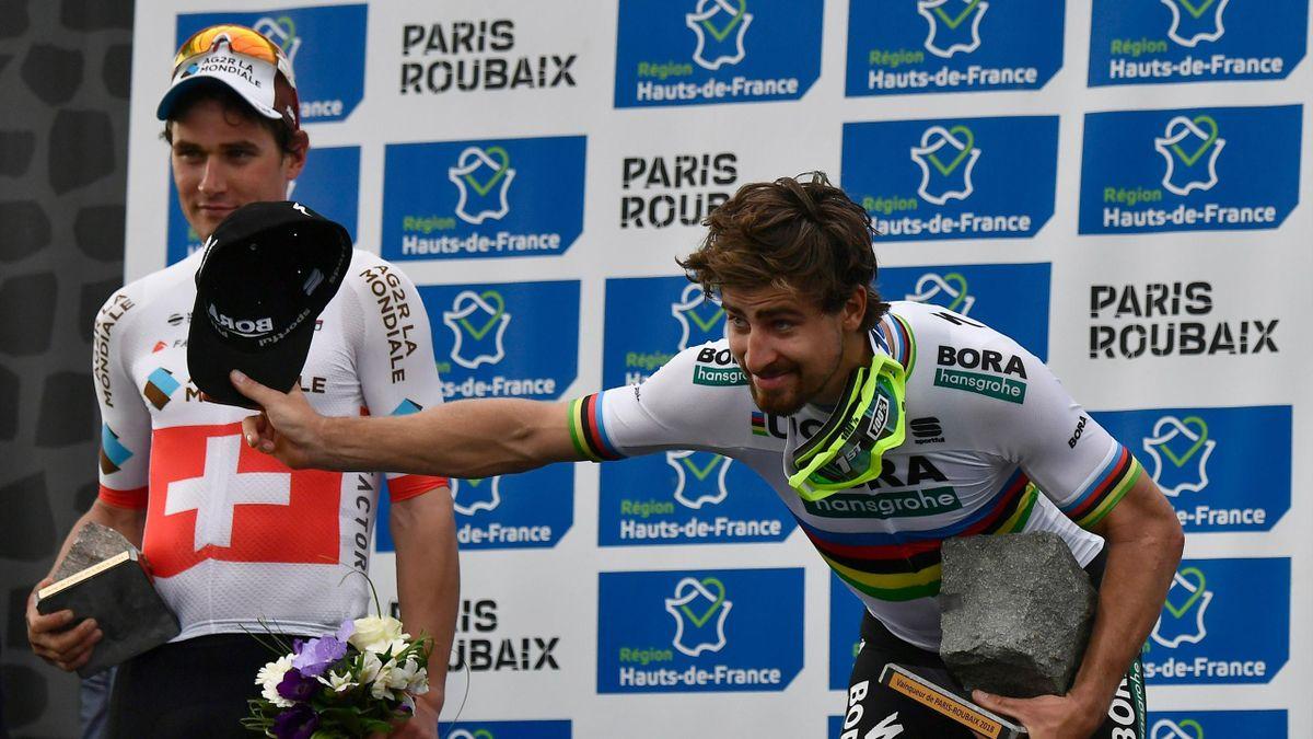 Silvan Dillier et Peter Sagan sur le podium de Paris-Roubaix.