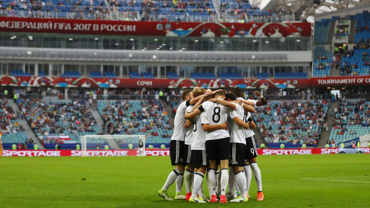 A General view inside the stadium as Julian Draxler of Germany celebrates scoring his sides third goal with his Germany team mates during the FIFA Confederations Cup Russia 2017