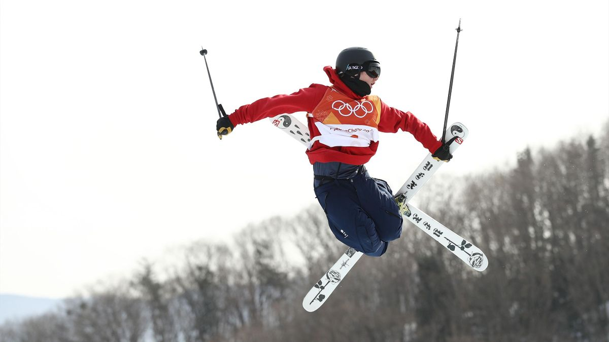 James Woods of Great Britain competes during the Freestyle Skiing Men's Ski Slopestyle qualification on day nine of the PyeongChang 2018 Winter Olympic Games at Phoenix Snow Park