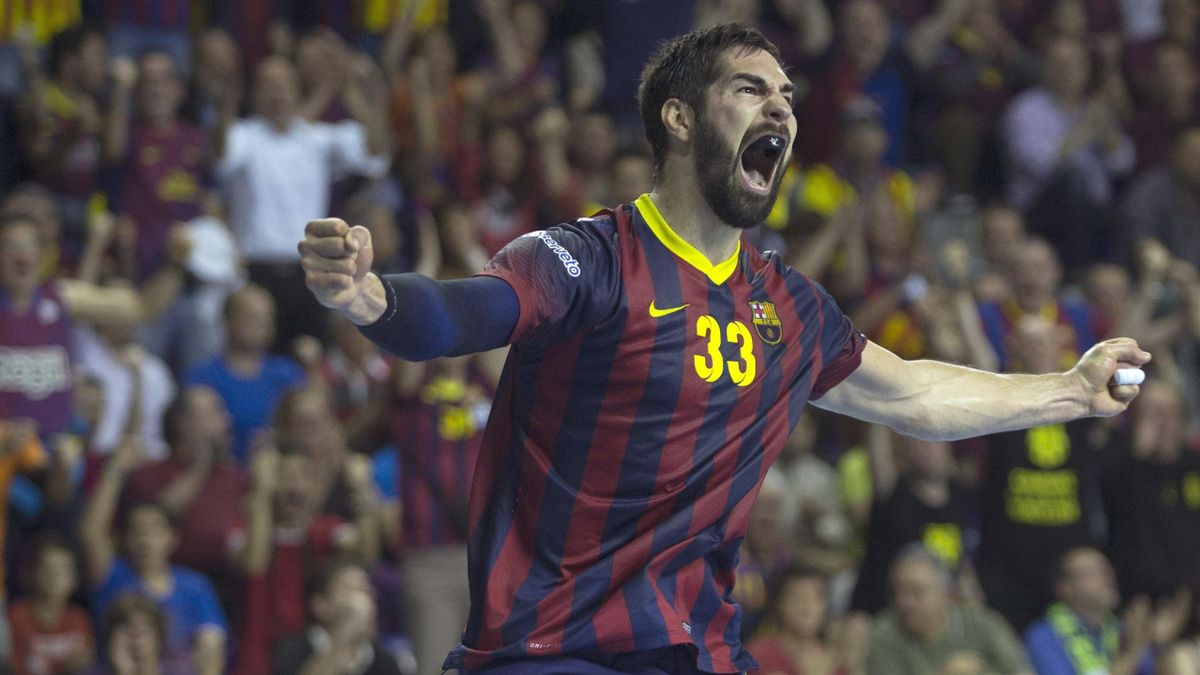 Karabatic celebra un gol con el Barcelona de balonmano