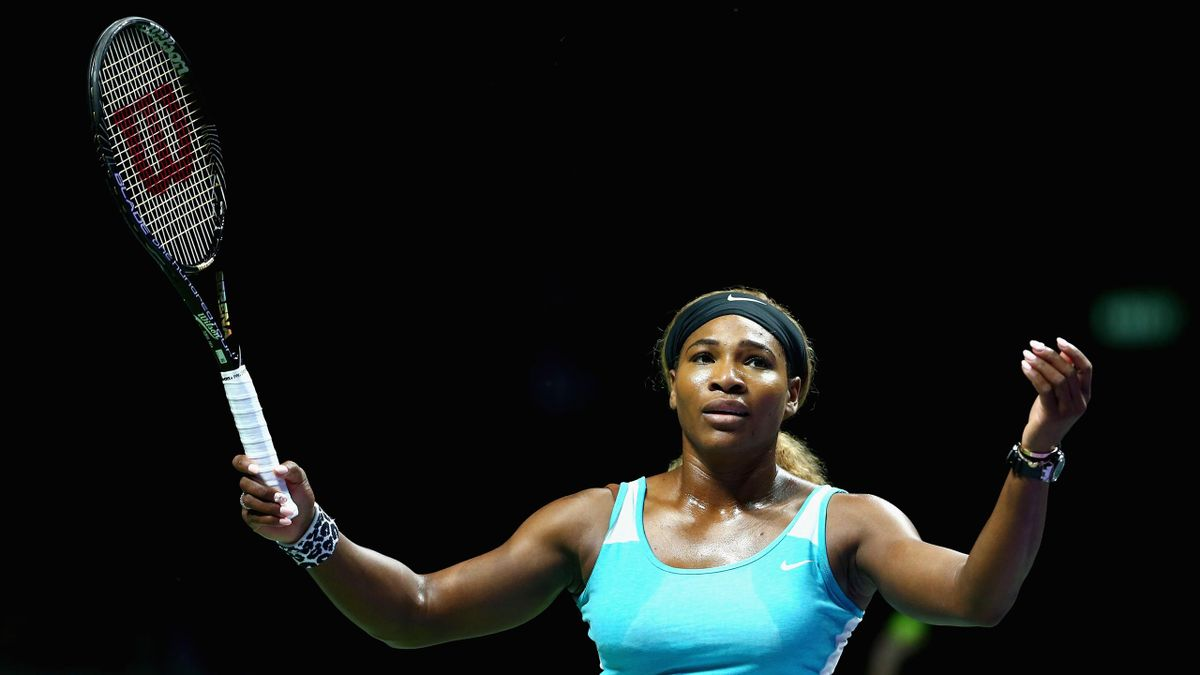 Serena Williams of the United States shows her frustrations during her straight sets defeat by Simona Halep (Getty)