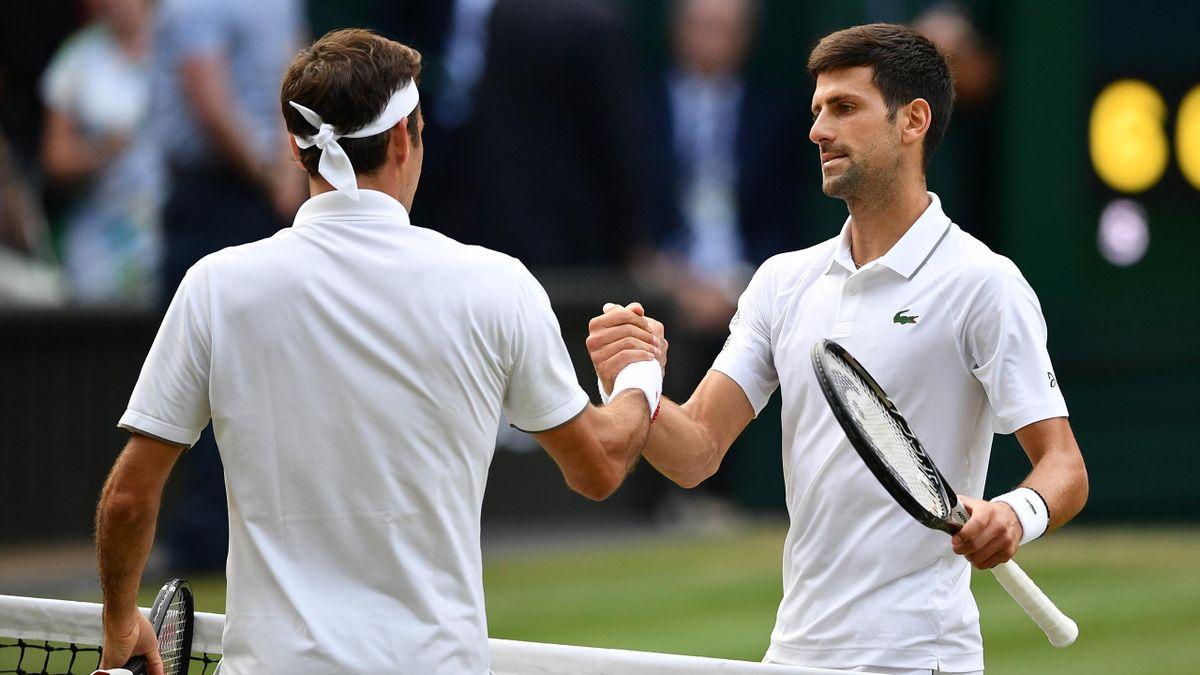 48. Duell gegeneinander: Federer (l.) und Djokovic (r.)