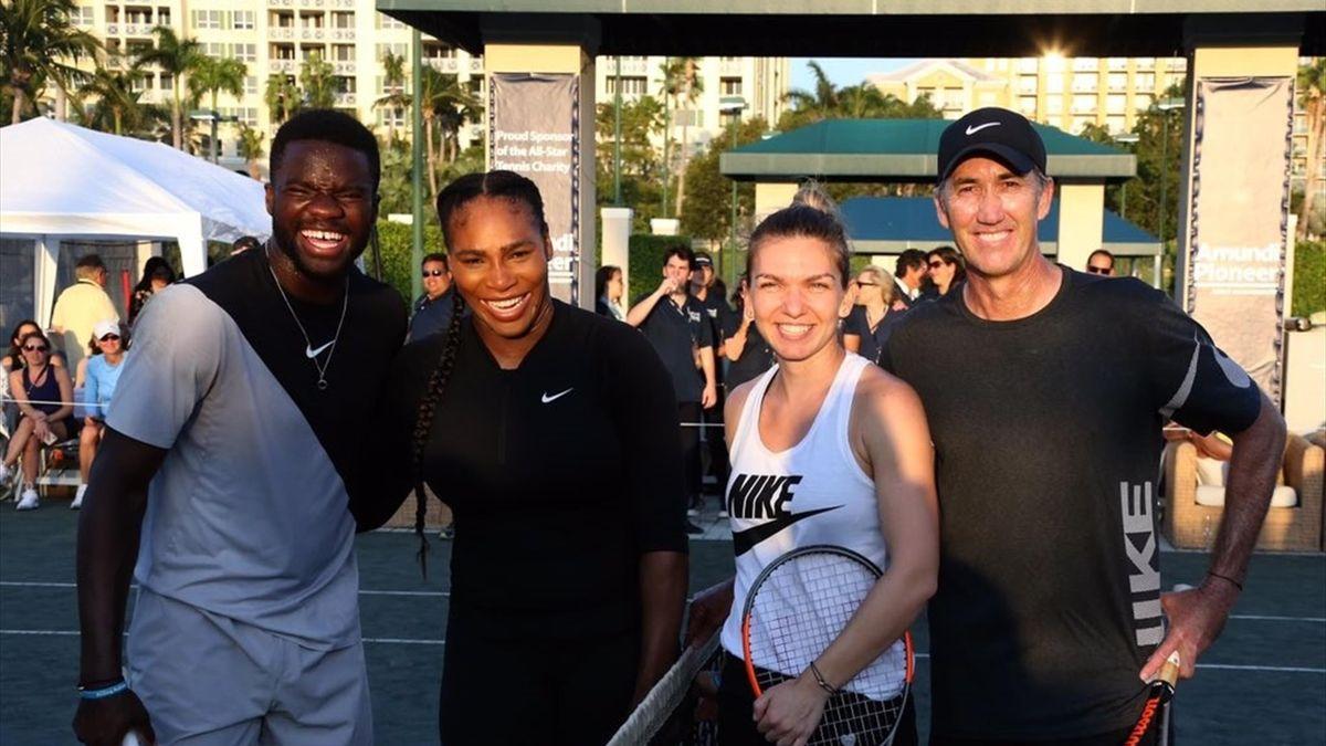 Simona Halep, Serena Williams, Frances Tiafoe & Darren Cahill