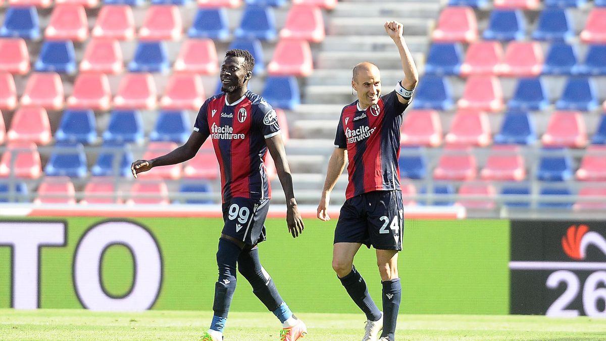 Palacio e Barrow, Bologna-Atalanta, Serie A 2020/21. Getty Images