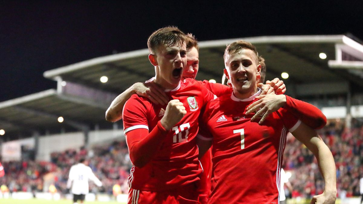Ben Woodburn of Wales celebrates after scoring a goal to make it 1-0 during the International Friendly between Wales and Trinidad and Tobago at Racecourse Ground on March 20, 2019 in Wrexham, Wales.