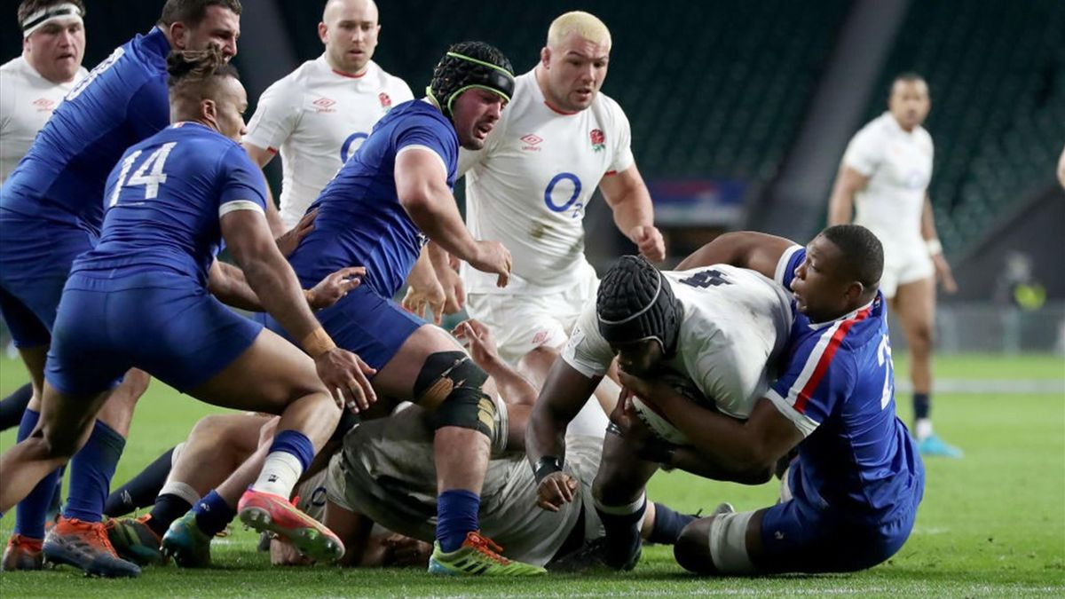 Itoje va a meta in Inghilterra-Francia a Twickenham - Sei Nazioni 2021 - Getty Images