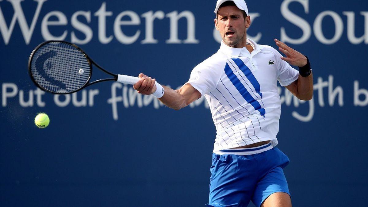 Djokovic in actie op het toernooi van Cincinnati (in New York)