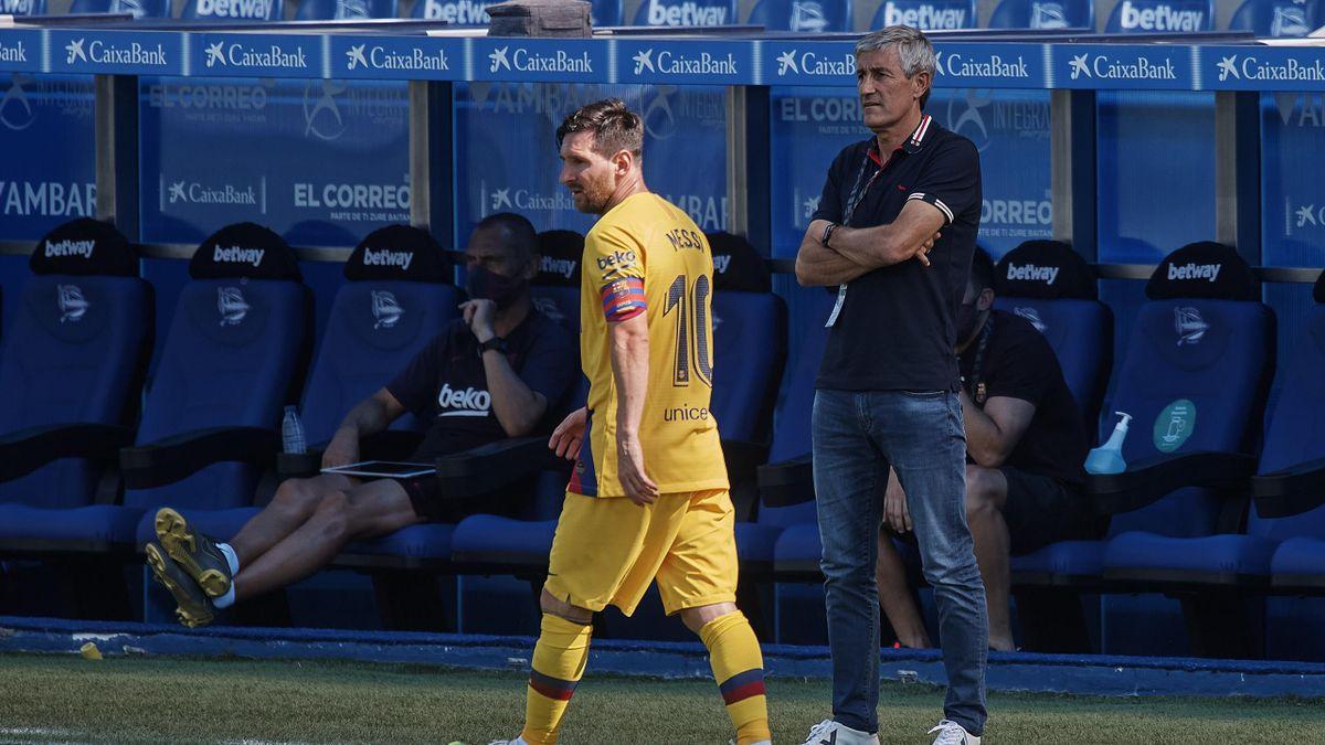 Lionel Messi și Quique Setien