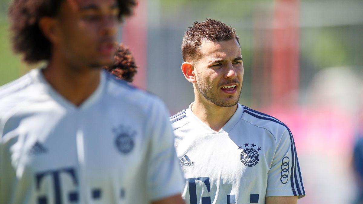 Lucas Hernandez, à l'entraînement avec le Bayern, le 18 mai à Munich