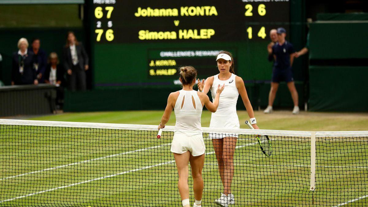 Johanna Konta and Simona Halep in the Wimbledon quarter-finals