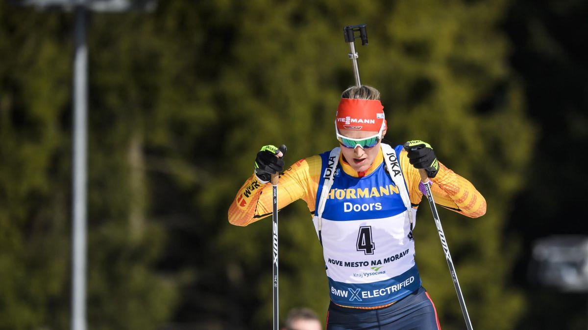 Denise Herrmann ist bei den Deutschen Meisterschaften in Altenberg im Einzel auf das Podest gelaufen
