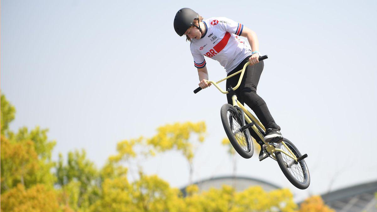 Charlotte Worthington in BMX freestyle action