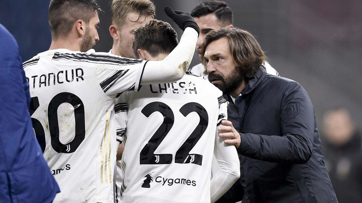 Andrea Pirlo a colloquio con Federico Chiesa, match winner di Milan-Juventus, Getty Images