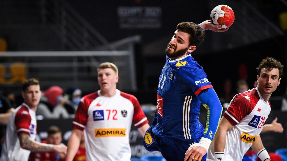 France's pivot Ludovic Fabregas attempts to score during the 2021 World Men's Handball Championship match between Group E teams Austria and France