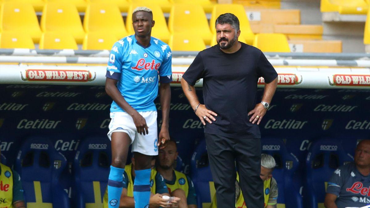 Gennaro Gattuso insieme a Victor Osimhen, Napoli, Serie A 2020-21, Getty Images