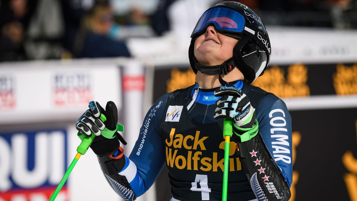 Alice Robinson of New Zealand reacts in the finish area of the FIS Alpine Skiing World Cup giant slalom in Kranjska Gora on February 15, 2020. (