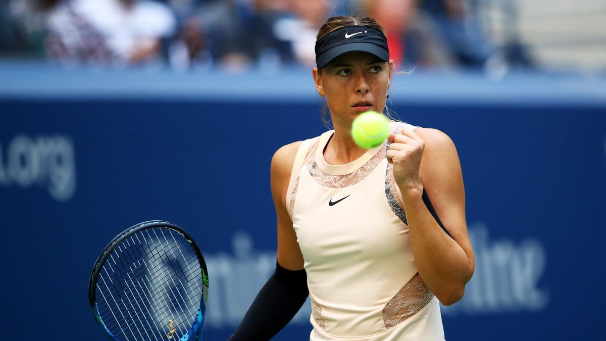 Maria Sharapova of Russia reacts against Timea Babos of Hungary during their second round Women's Singles match on Day Three of the 2017 US Open