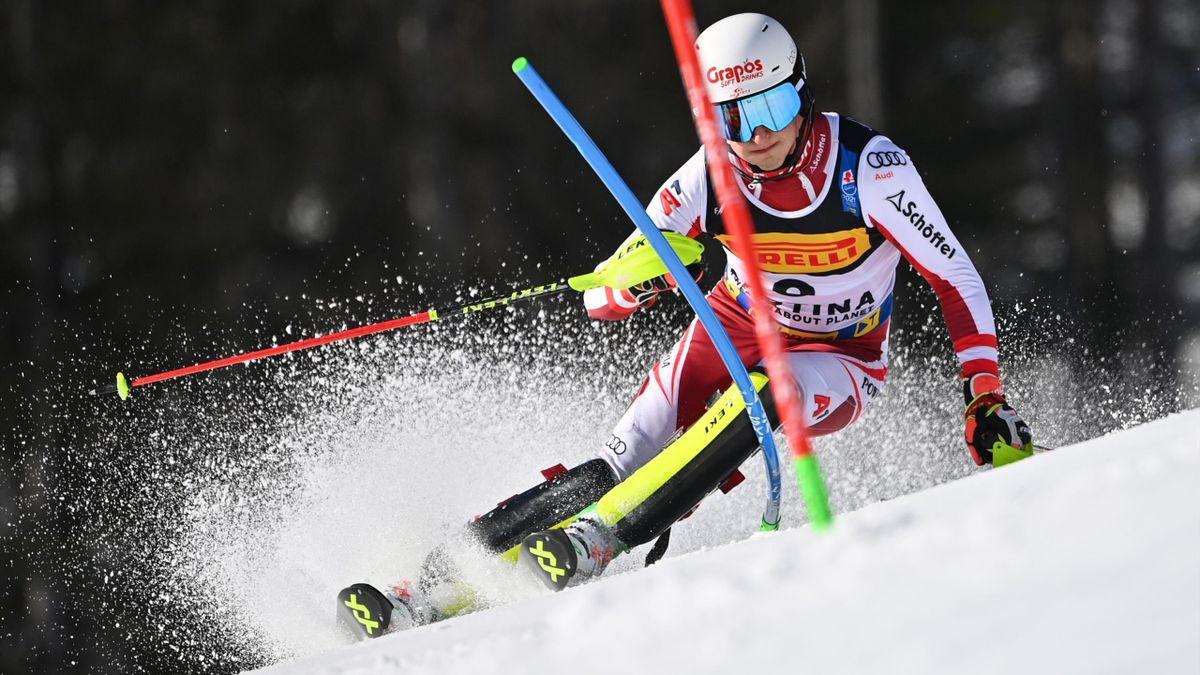 """Adrian Pertl, la """"petite"""" sensation de la première manche du slalom des Mondiaux, ce dimanche à Cortina d'Ampezzo."""