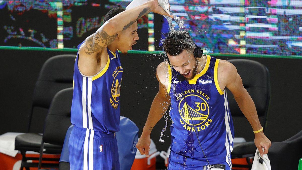 Une douche bien méritée : Stephen Curry est devenu le meilleur marqueur de l'histoire des Warriors