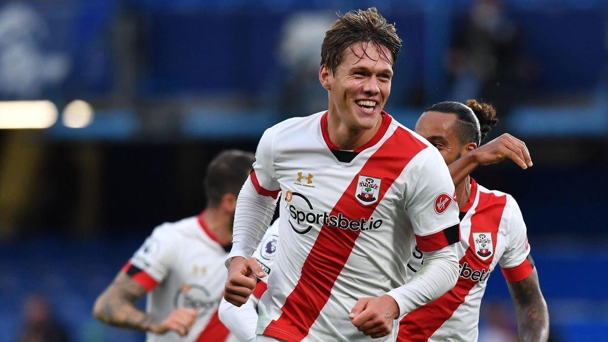 Southampton's Danish defender Jannik Vestergaard celebrates