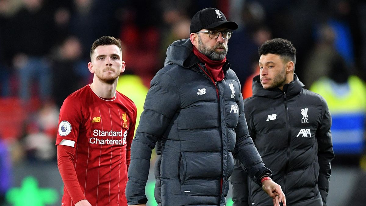 Jurgen Klopp, Andy Robertson and Alex Oxlade-Chamberlain after Liverpool lose at Watford
