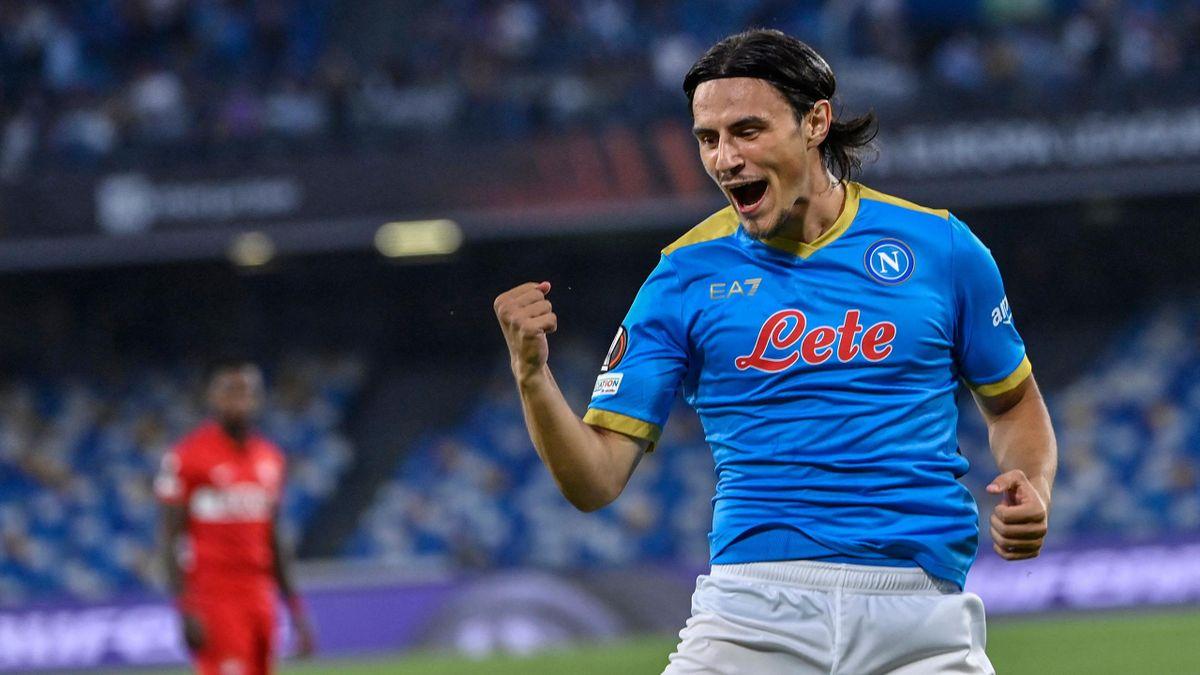 Napoli-Spartak Mosca, Europa League 2021-2022: l'esultanza di Eljif Elmas dopo il gol-lampo dell'1-0. Foto di Alberto Pizzoli per Getty Images