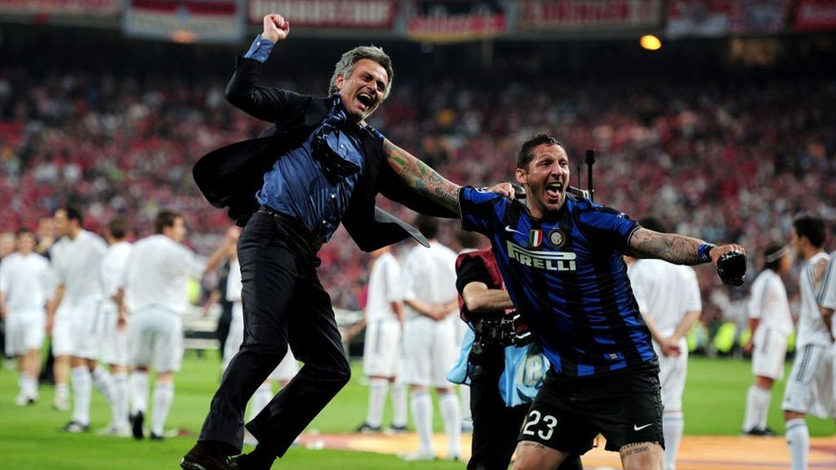 José Mourinho e Marco Materazzi dopo Inter-Bayern Monaco, finale di Champions League 2010