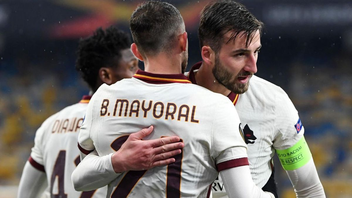 Borja Mayoral e Cristante esultano in Shakhtar Donetsk-Roma - Europa League 2020/2021 - Getty Images