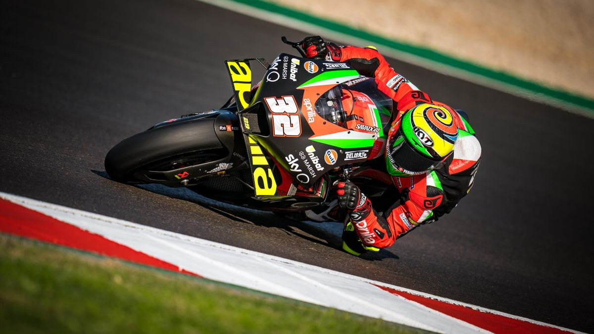 Lorenzo Savadori of Italy and Aprilia Racing Team Gresini rides during the free practice for the MotoGP of Portugal at Algarve Motor Park on November 20, 2020 in Portimao, Portugal