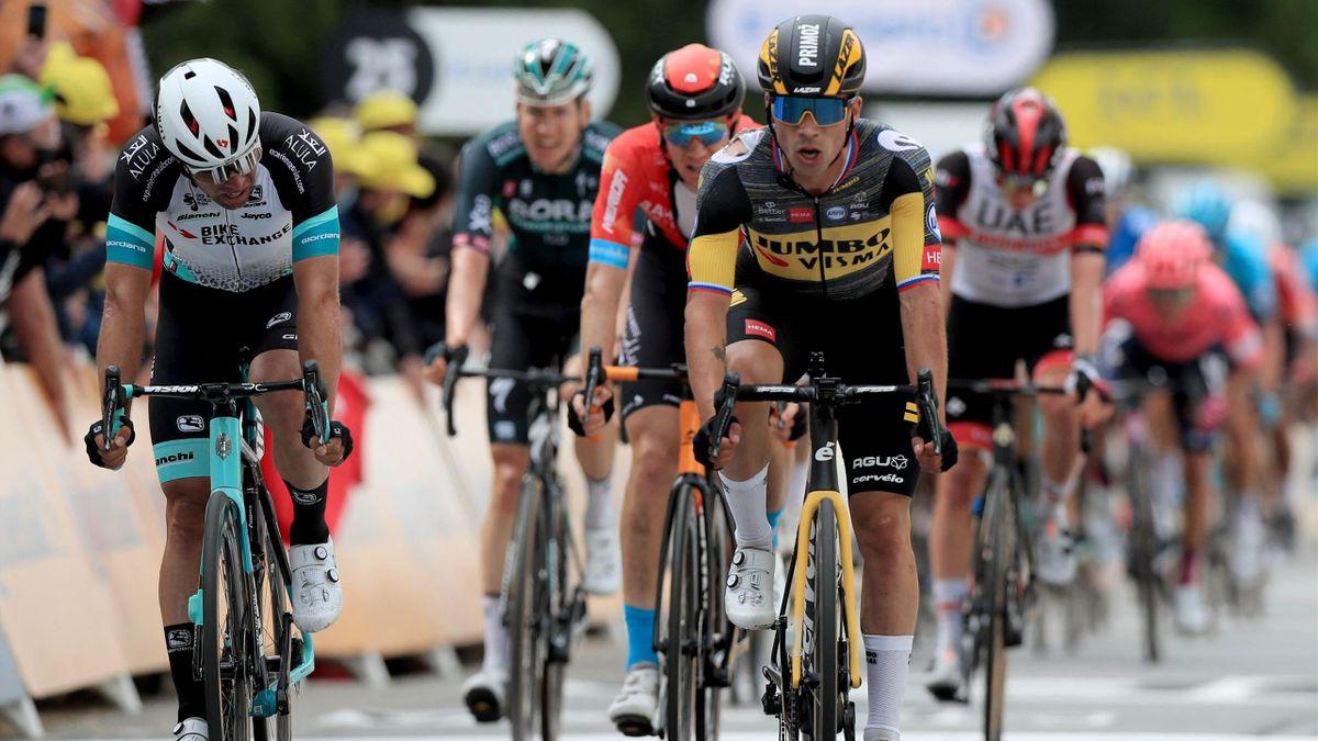 Primoz Roglic à l'arrive de la 1re étape du Tour 2021