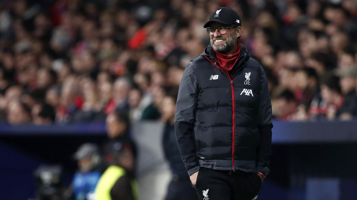 coach Jurgen Klopp of Liverpool during the UEFA Champions League match between Atletico Madrid v Liverpool at the Estadio Wanda Metropolitano on February 18, 2020