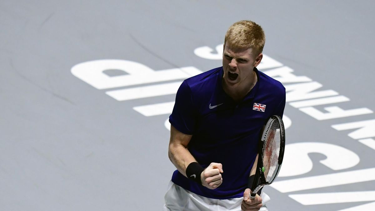 Great Britain's Kyle Edmund reacts during the singles quarter-final tennis match against Germany's Philipp Kohlschreiber at the Davis Cup Madrid Finals 2019 in Madrid