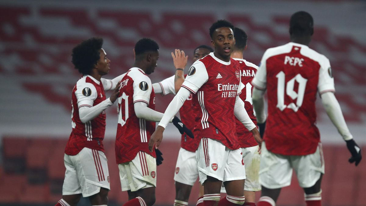 Arsenal players celebrate after Sheriff Sinyan of Molde scores an own goal
