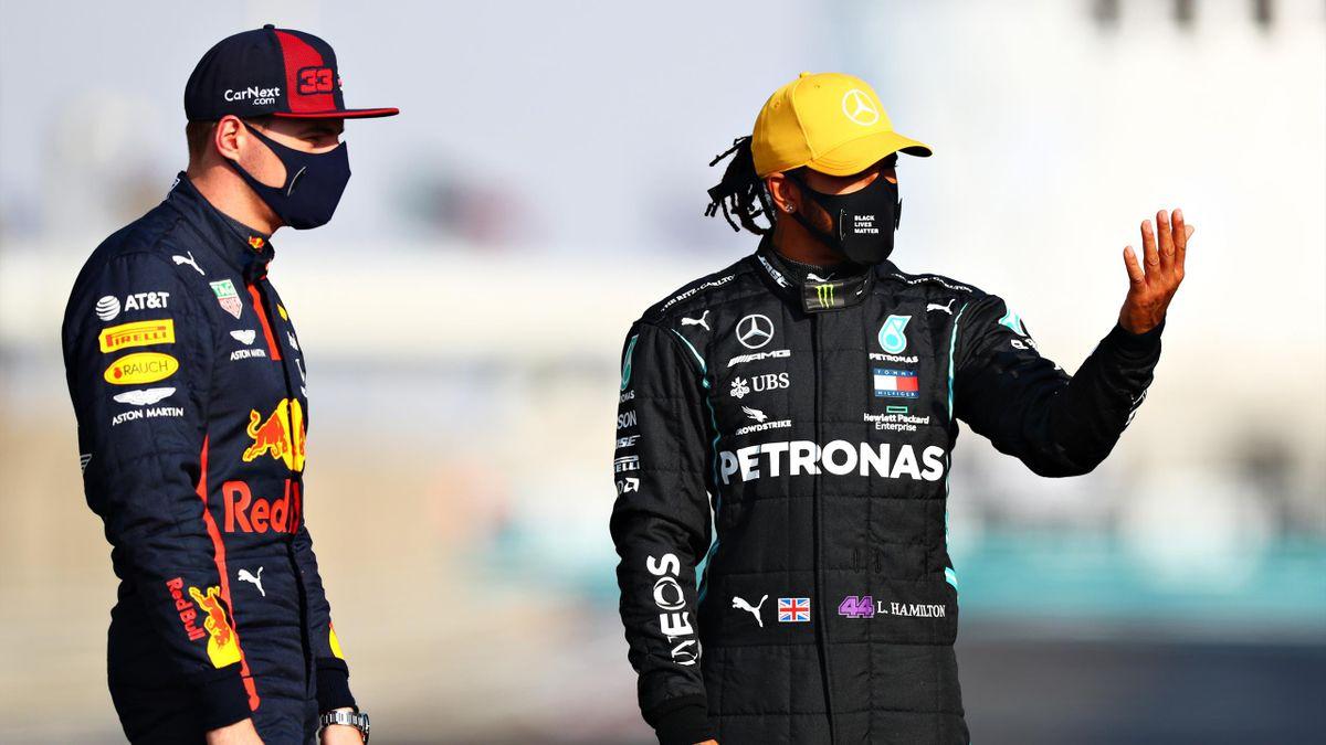 Mercedes-Superstar Lewis Hamilton (rechts) und Red-Bull-Pilot Max Verstappen