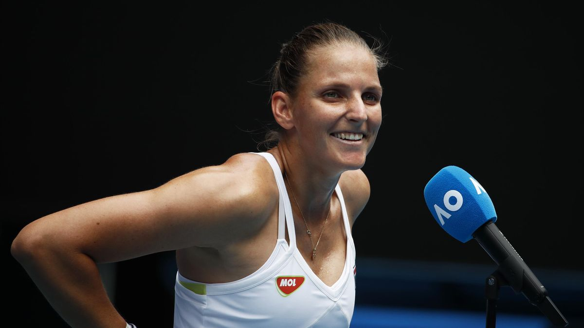 Karolina Pliskova of Czech Republic smiles during the post match interview following her Women's Singles second round match win against Danielle Collins of the United States of America during day four of the 2021 Australian Open at Melbourne Park