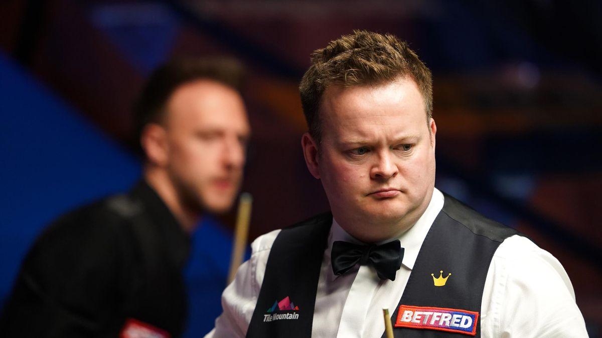 Shaun Murphy eyes a pot, World Snooker Championship, The Crucible, Sheffield, April 28, 2021