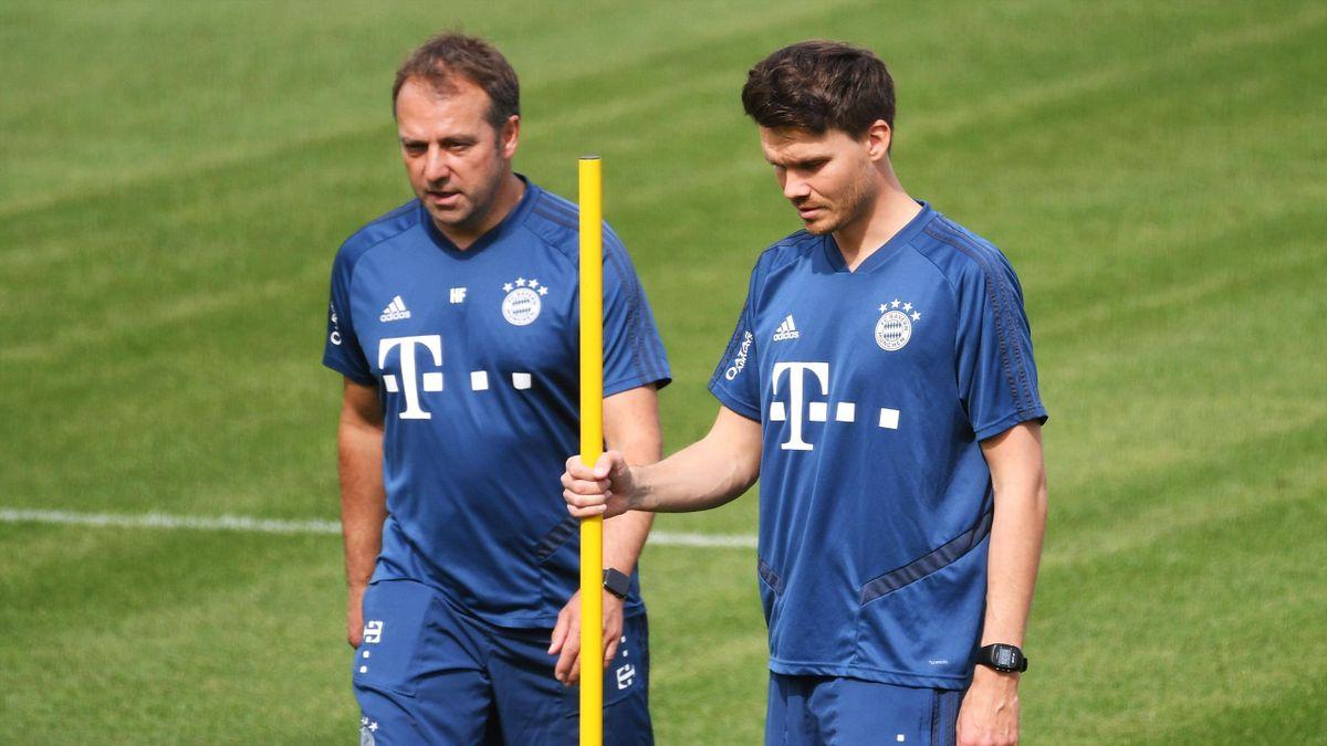 Hansi Flick (l.) und Hansi Flick (r.) arbeiteten schon beim FC Bayern zusammen.