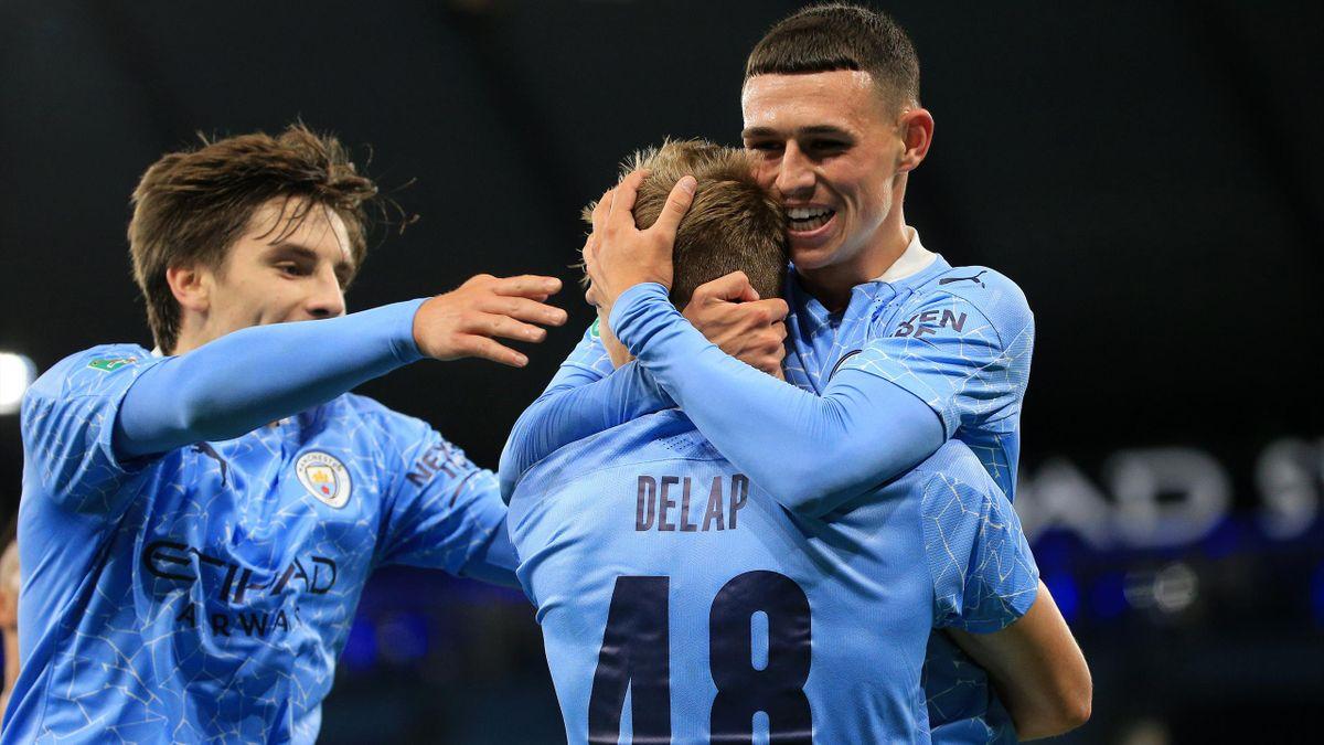 Manchester City celebrate v Bournemouth
