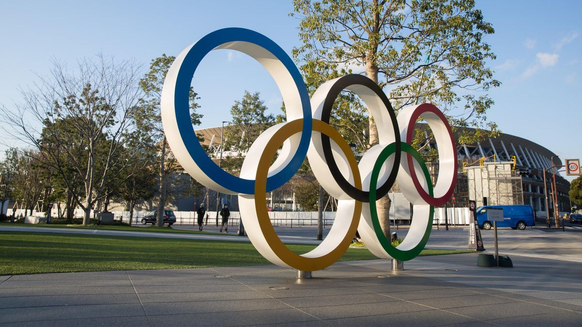 View of the Olympic Rings near the new National Stadium in Kasumigaoka, Shinjuku, Tokyo, Japan