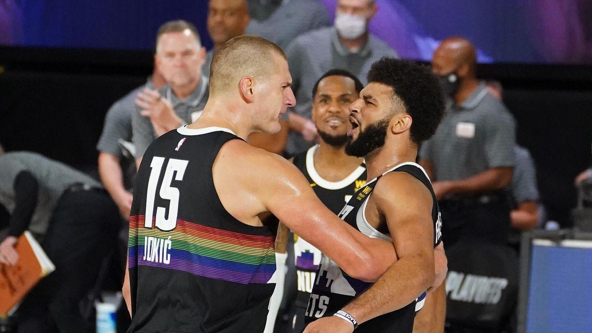 Nikola Jokic et Jamal Murray lors du match 1 entre Denver - Utah / NBA
