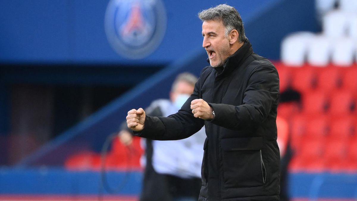 Christophe Galtier lors de la victoire de Lille sur la pelouse du Paris Saint-Germain, en Ligue 1, le 3 avril 2021