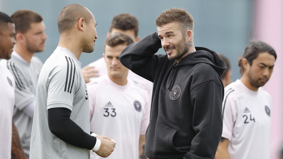 David Beckham avec ses joueurs de l'Inter Miami.