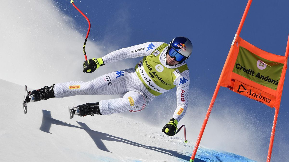 Dominik Paris of Italy in action during the Audi FIS Alpine Ski World Cup Men's and Women's Downhill Training on March 12, 2019 in Soldeu Andorra.