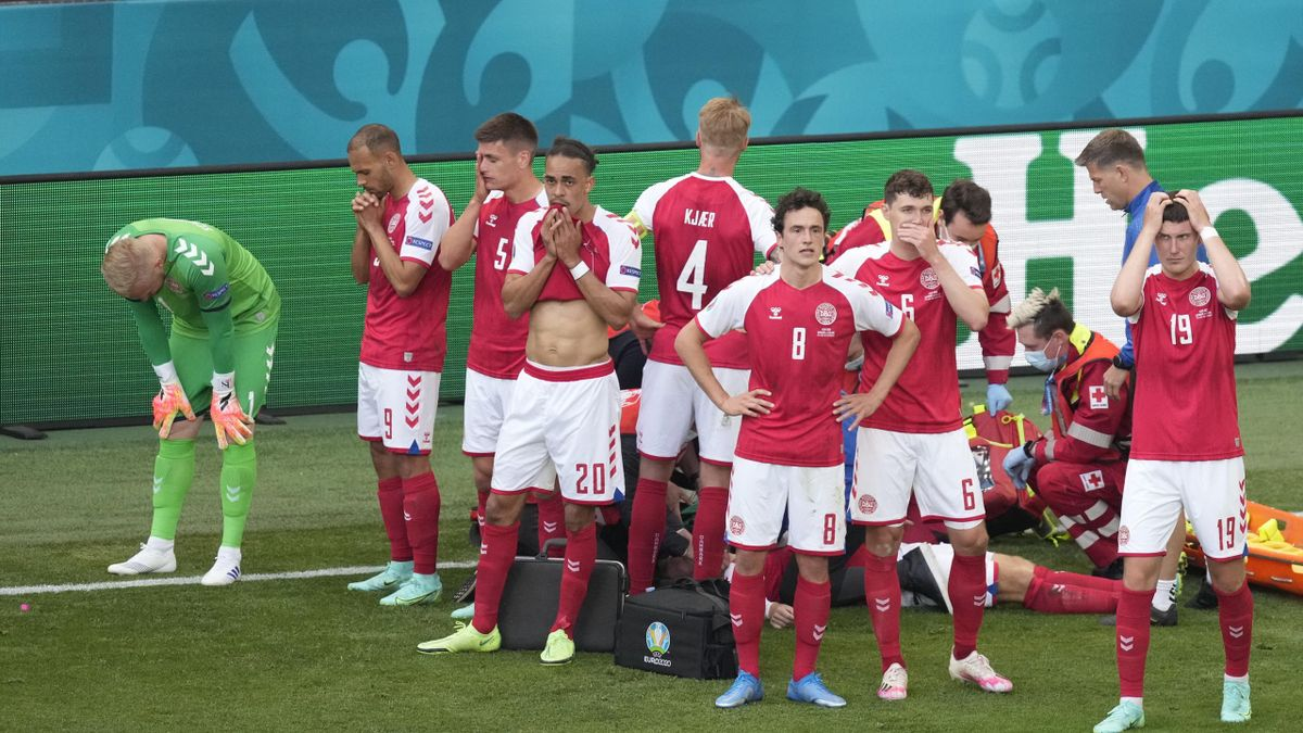 Denmark players were visibly upset during the incident