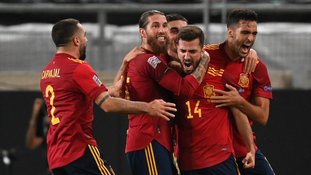 Luis Jose Gaya of Spain celebrates with teammates after scoring his team's first goal during the UEFA Nations League group stage match between Germany and Spain at Mercedes-Benz Arena