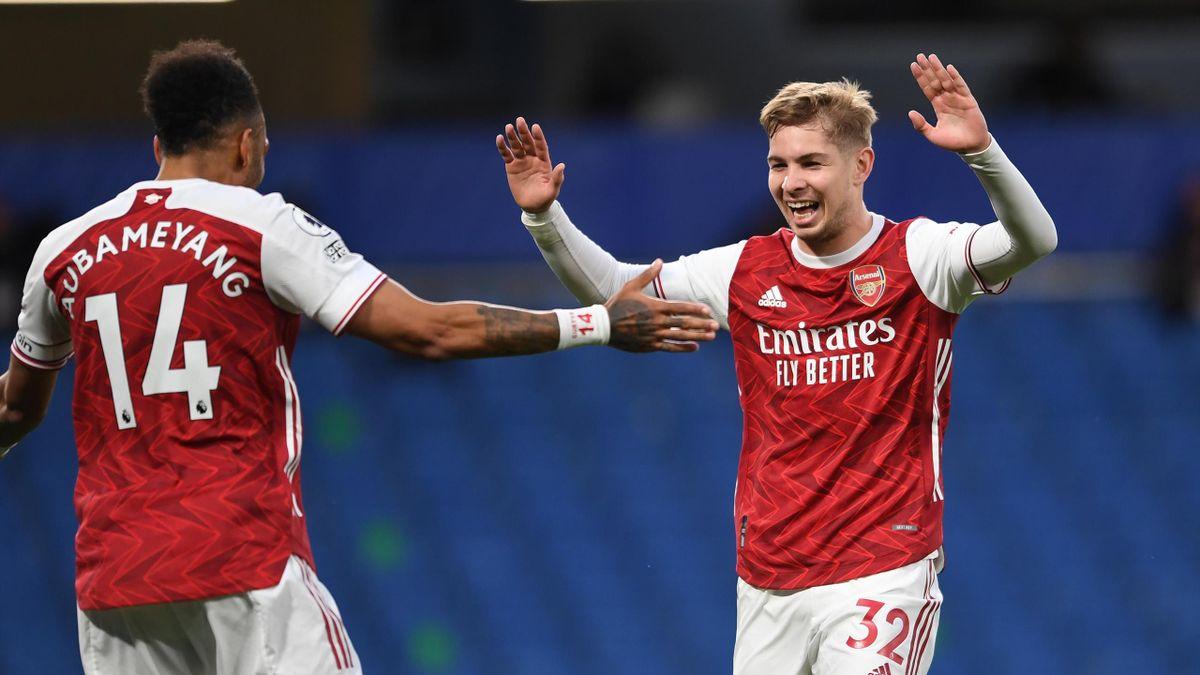 Pierre-Emerick Aubameyang (links; FC Arsenal) und Emile Smith Rowe