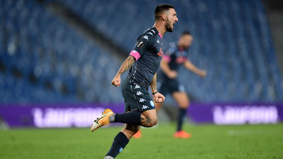 Real Sociedad-Napoli, Europa League 2020-2021: Matteo Politano esulta dopo il gol dello 0-1 (Getty Images)