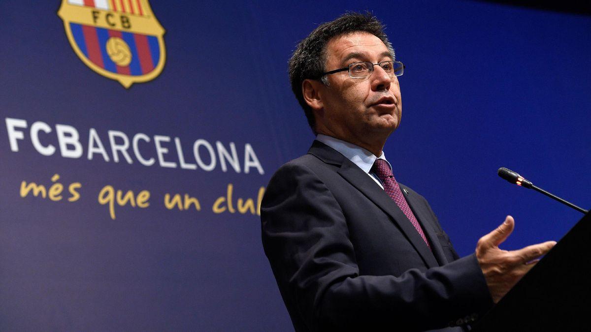 Barcelona's football club president Josep Maria Bartomeu speaks during a press conference