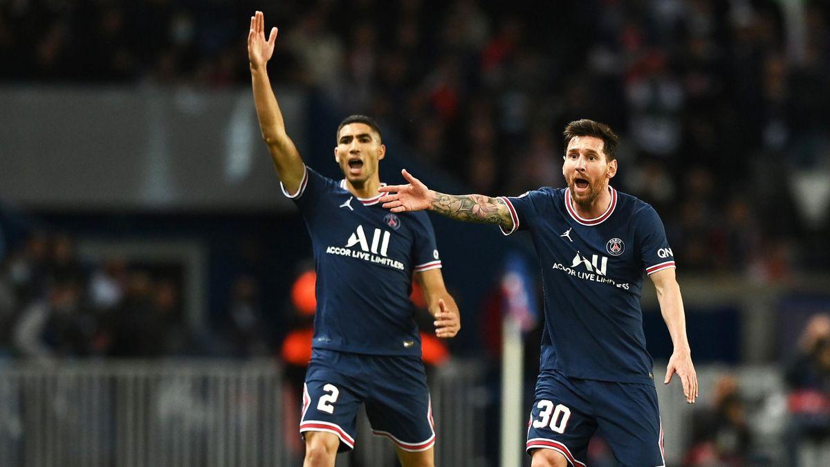 PSG-Neuzugänge Achraf Hakimi (li.) und Lionel Messi (re.)