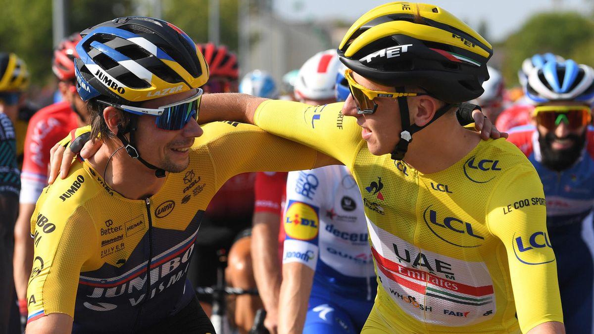 Primoz Roglic et Tadej Pogacar lors du Tour de France 2020.
